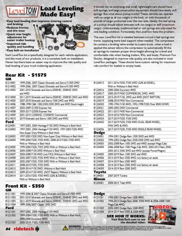 Page 84 - RideTech 2019 Catalog for Web