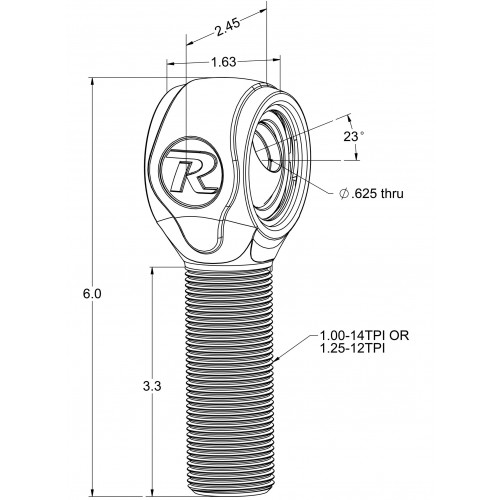 """R-Joint XL Rod End with 1 ¼"""" -12 Left Hand Thread"""
