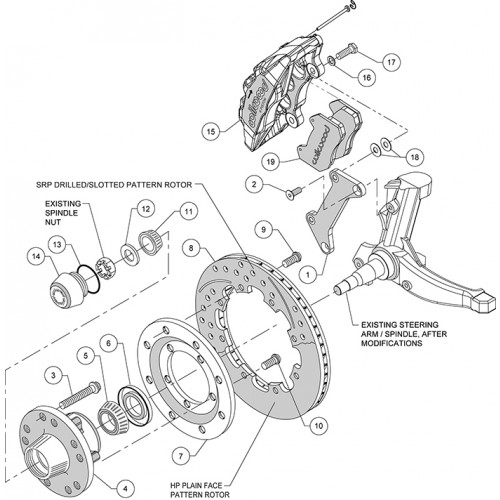 """Wilwood Front Dynapro 6 Brake System for 1979-1988 GM """"G"""" Body & S10"""